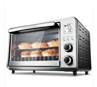 30L Commercial Home Black+Silver Multi-function Heating Benchtop Electric Oven *