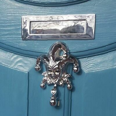 "Bright Chrome Jester Door Knocker – 8 ½"" x 6 ½"""