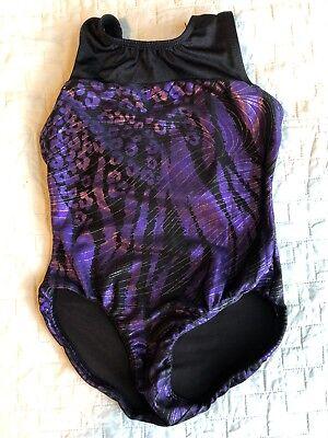 K-Bee Leotard Girls Size 7/8 Black Purple