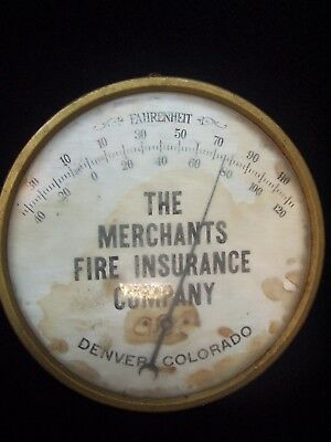 1900s Thermometer Merchants Fire Insurance Denver Colorado metal sign antique