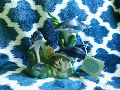 Wonders Of The Sea Dolphin Figurine 3 Dolphins Porcelain Collectible