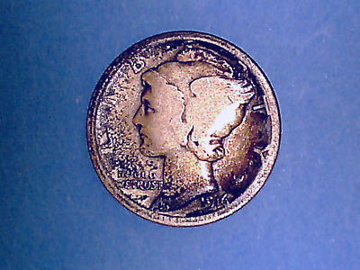 1916 10C Mercury Silver Dime In Good Condition