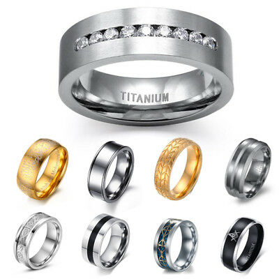 Fashion Men Women Stainless Steel Wedding Engagement Band Ring Party Gift Sz6-13