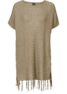 bc02fd7c82820e MADE IN ITALY Poncho Überwurf Pullover Tunika dunkelblau weiß 36 38 ...