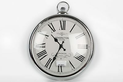 Large 42Cm Vintage Antique Style Silver Chrome Pocket Watch Wall Clock Numerals