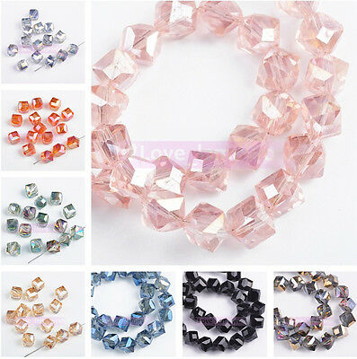 New 10/50pcs 8mm Charms Diagonal Square Faceted Crystal Glass Loose Space Beads