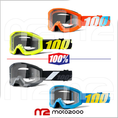 Mascherina Occhiali 100% Strata Junior Off Road Moto Cross Enduro Rossa Nera Blu