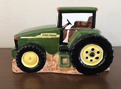 "JOHN DEERE By Gibson Green Tractor Cookie Jar EUC 11"" Long Great Condition"