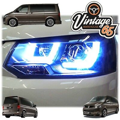 Vw T5 Transporter Black R8 Led Drl Daylight Running Lights Devil Eye Headlights