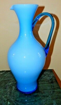 Vintage Large Art Glass Hand Blown Two Color Pitcher With Smooth Pontil Flawless