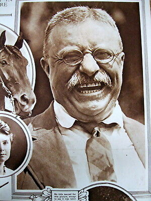 <1916 newspaper w large TEDDY ROOSEVELT PHOTOGRAPH showing his TEETH for Dentist