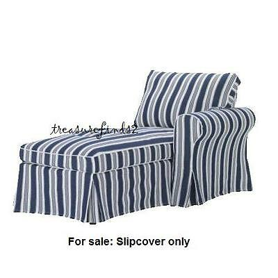 IKEA Slip COVER for EKTORP Right Arm CHAISE Longue Toftaholm Blue White Striped