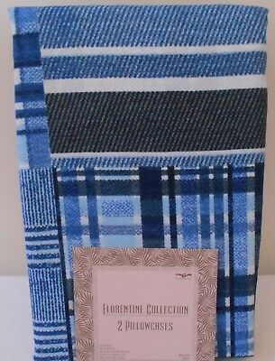 Denim Blue Stripe & Checkered Pillowcases Standard Set Of 2