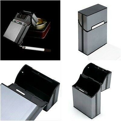 Cigarette Tobacco Cigar Case Holder Aluminum Pocket Box Container Pack Gray New