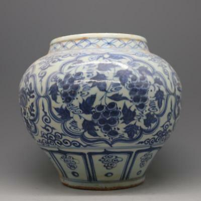 antique   Chinese ancient yuan dynasty blue and white porcelain fruit grain jar.