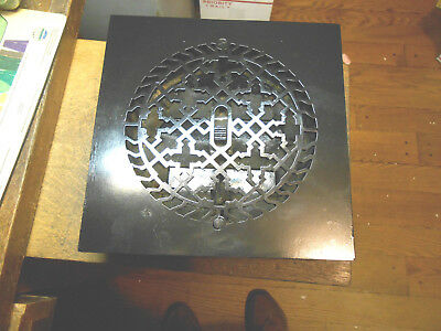 """Square Cast Iron Floor Register Heat Grate Made For 8"""" Round Duct  With Louvers"""