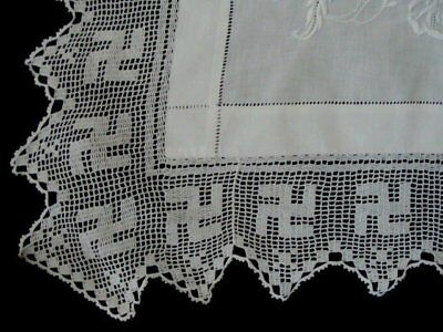 "RARE Antique VICTORIAN Linen Lace English Tea Tablecloth 46"" Filet Crochet Embr"