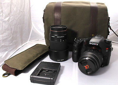 Sony A 77 24.3MP DSLR w/ 18-55 and 75-300 Lenses Plus Case