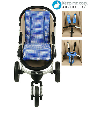 Keep Me Cosy™ Universal Pram Liner + FREE Harness & Buckle Cosy -  Blue Spot