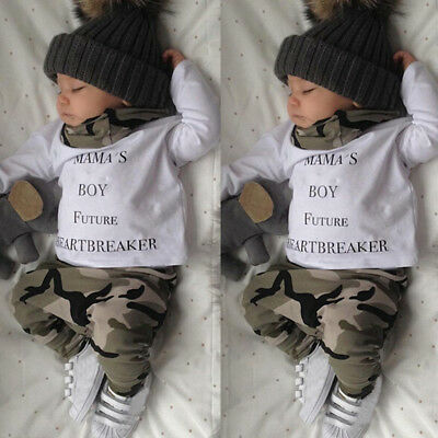 Newborn Kids Baby Boy Outfit Clothes T-shirt Tops+Camouflage Long Pants 2PCS/Set