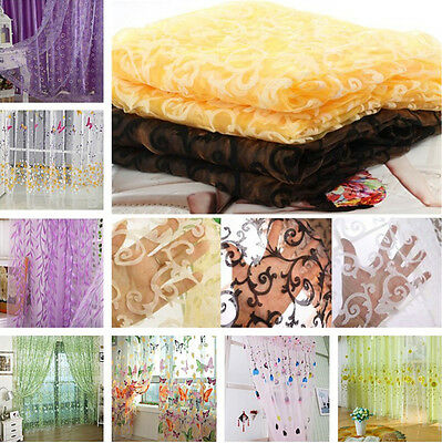 Romantic Floral Tulle Voile Door/Window Curtain Drape Panel Sheer Scarf Valances