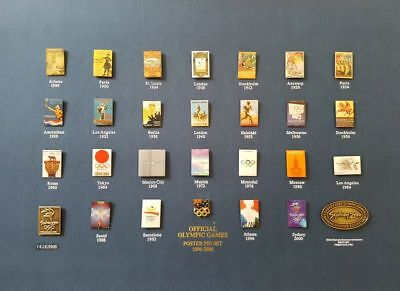 1896 – 2000 The Official Olympic Games Poster 28 Pin Set On Card Ready To Frame