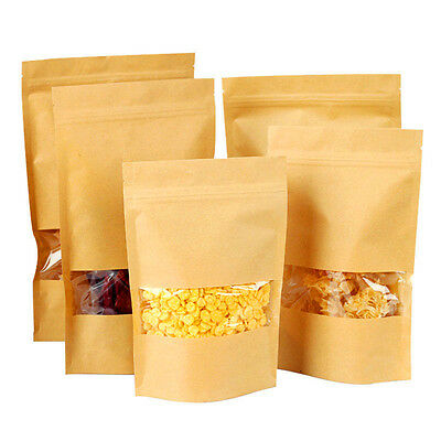 100x Stand Up Kraft Paper Bags Ziplock Resealable Food Pouch Gift & Clear Window