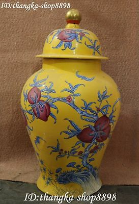 "26"" Chinese Porcelain Gilt Ancient Peach Fruit Pot Jar Flower Vase Bottle Statue"