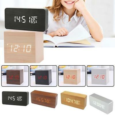 Modern Wooden Wood USB/AAA Digital LED Alarm Clock Calendar Thermometer GR