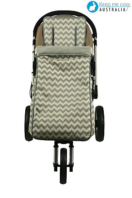 Keep Me Cosy™ Toddler Footmuff + Universal Pram Liner 2 in 1 set - Grey Chevron