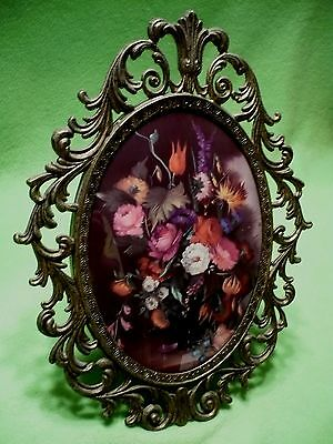 Vintage Italian CONVEX GLASS metal frame with colorful flower bouquet print.13 ""
