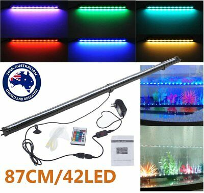 87CM 42LED RGB Remote Color Changing LED Aquarium Fish Tank Light Air Curtain ON