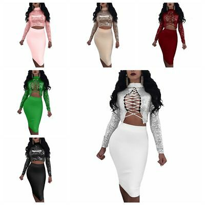 Womens Sexy Sequins Lace-Up Two Piece Sets Slim Bodycon Clubwear Party Dress