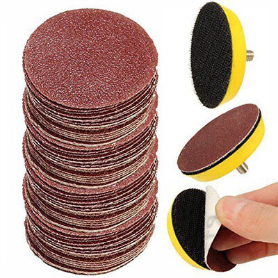"50Pcs 2'' Sandpaper Disc + 50mm 1/4"" Hook & Loop Sanding Sander Backing Pad Kit"