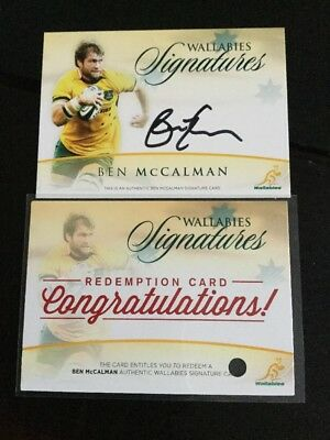 TAP N PLAY 2016 RUGBY WALLABIES Ben McCalman an AUTO SIGNATURE CARD 10/150