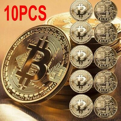 10x BTC Gold Bitcoin Commemorative Collectors Coin Bit Coin is Gold Plated Coins