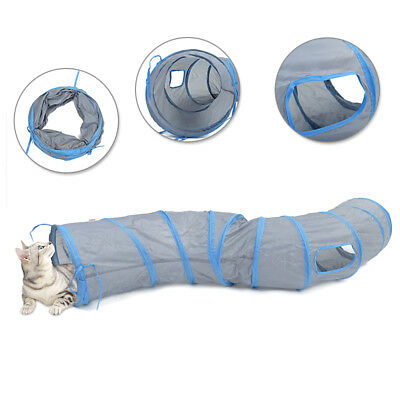 S Shape Collapsible Pet Cat Play Tunnel Crinkle Animal Rabbit Summer Gym Toy