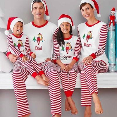 2017 Family Matching Christmas Pajamas Set Striped Print Patchwork Family EA9