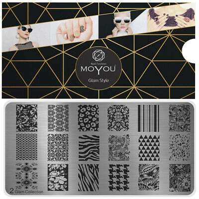 MoYou Nail Fashion Stamping Nail Art Image Plate 2 Glam Collection Hearts Stars