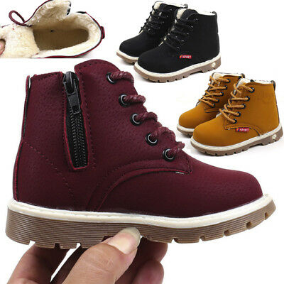 Child Kids Baby Boy Girl  Snow Boots Warm Fur Lined Leather Shoes Sneakers