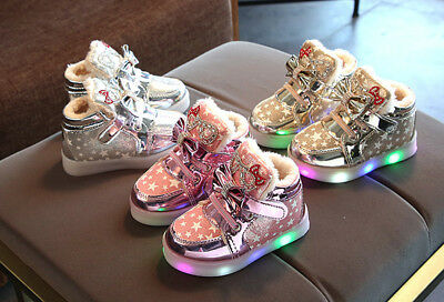 Child Kids Baby Girl LED Sneakers Luminous Fur Lined Warm Boots Leather Shoes