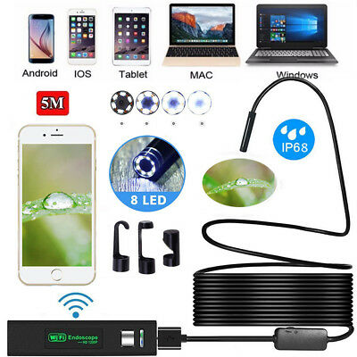 8 LED WIFI Endoscope Wireless Borescope Inspection Camera For Android iPhone UK
