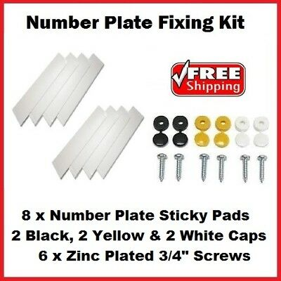 Number Plate Fixings Fixing Fitting Kit 6 Pack Of Caps, Screws & 8 Sticky Pads
