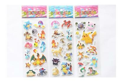 3pcs Cute Pokemon GO Stickers Puffy Pikachu Pocket Monster Scrapbooking