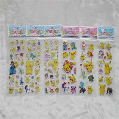 6pcs Cute Pokemon GO Stickers Puffy Pikachu Pocket Monster Scrapbooking