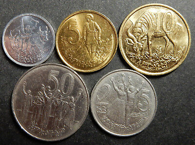 Ethiopia Complete Set 1+5+10+25+50 c 1969 1977 Two long whiskers Up to Top! Rare