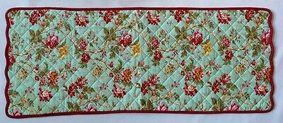 WAVERLY Quilted Table Runner Dresser Scarf Floral Reversible 34 x 14
