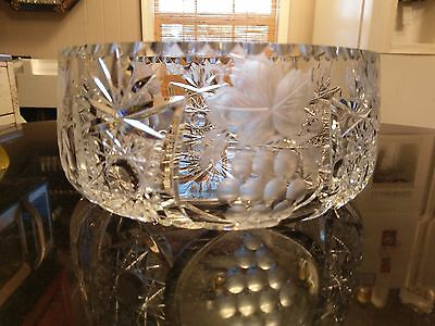 Stunning Large Cut Glass Centerpiece Bowl