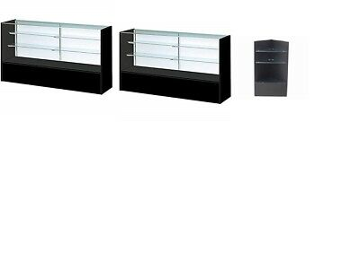 Only Hangers Two 6 ft Showcases and a Corner Filler - Black