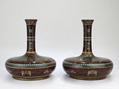 Pair of Large Antique Japanese Meiji Period Cloisonné Vases - VR